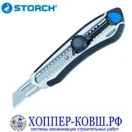 Нож в алюминиевом корпусе 18 мм со сменными лезвиями STORCH 356005