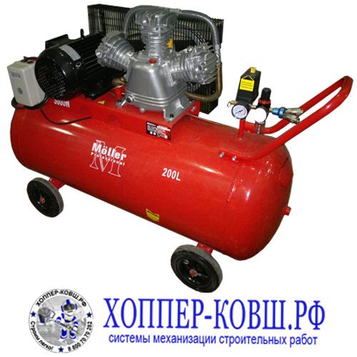 Компрессор Moller AC 650/200 380В  - ременной трехпоршневой масляный компрессор мощностью 3000 Вт производительность на входе 650 литров, выходная производительность 490 л/мин.